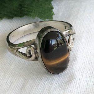 Genuine Tiger Eye Sz10 Ring - 925 Silver  (EUC)